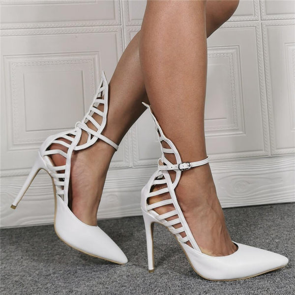 Sexy White PU Point Toe Cutout High Heels