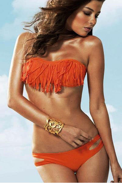 Pure Color Long Tassels Strapless Padded Two Pieces Swimwears
