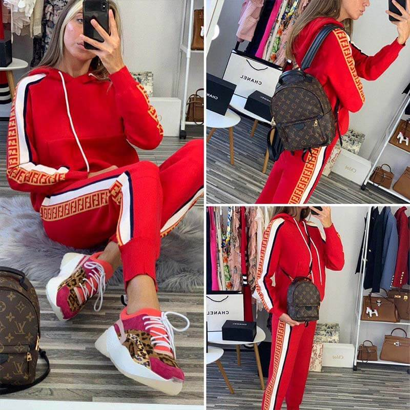Hooded Pullover Blouse Long pants Set