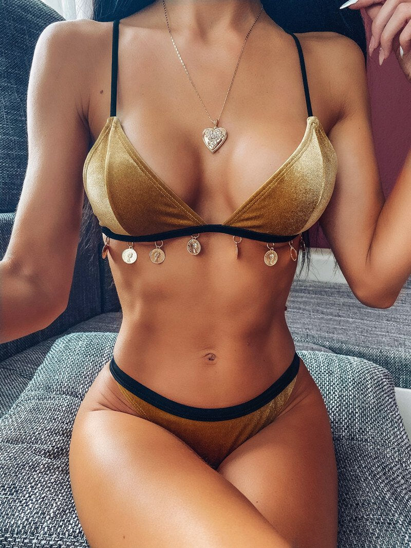 Hot Gold Suede Mid Rise Thong Bottom Bikinis
