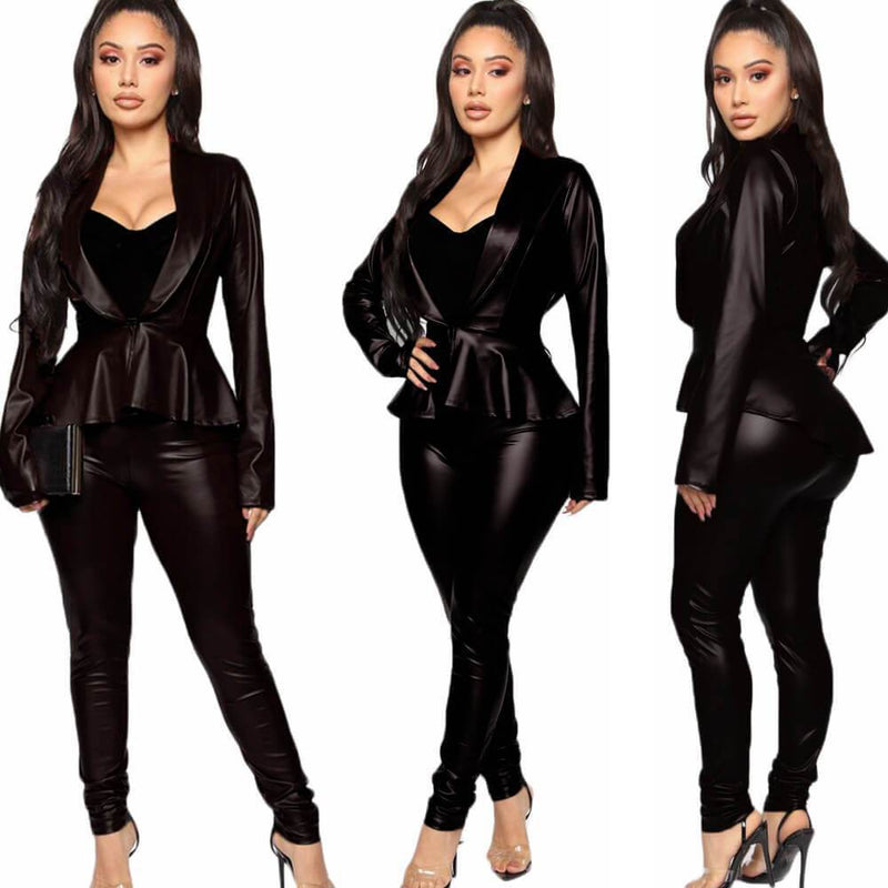 PU Deep V-neck Crop Top High Waist Skinny Pants Set