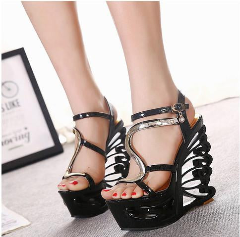 Sexy Hollow Out Platform High Wedge Sandals Club Shoes - MeetYoursFashion - 3