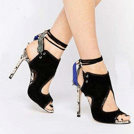 Black Fringe Cutout  Strap Suede High Heel Sandals