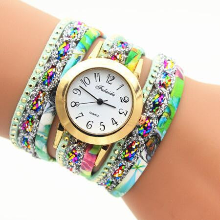 Colorful Print Multilayer Bracelet Watch