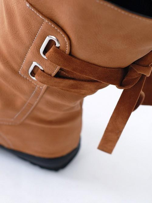 Belt Buckle Lace Up Middle Canister Martin Boots