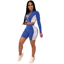 Print Zipper Crop Top with High Waist Shorts Women Two Pieces Set