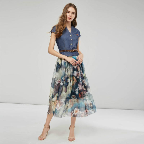 Denim Patchwork Mesh Midi Dress