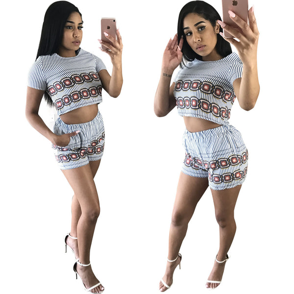 Retro Print Short Crop Top with Print Shorts Two Pieces Set