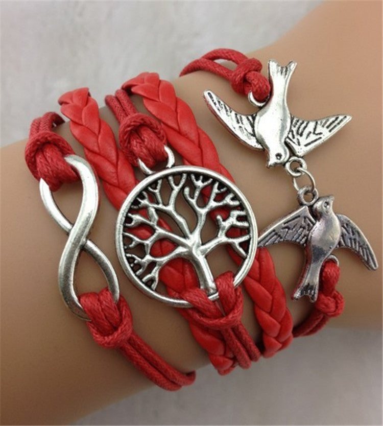 Dove Tree Hand-made Leather Cord Bracelet