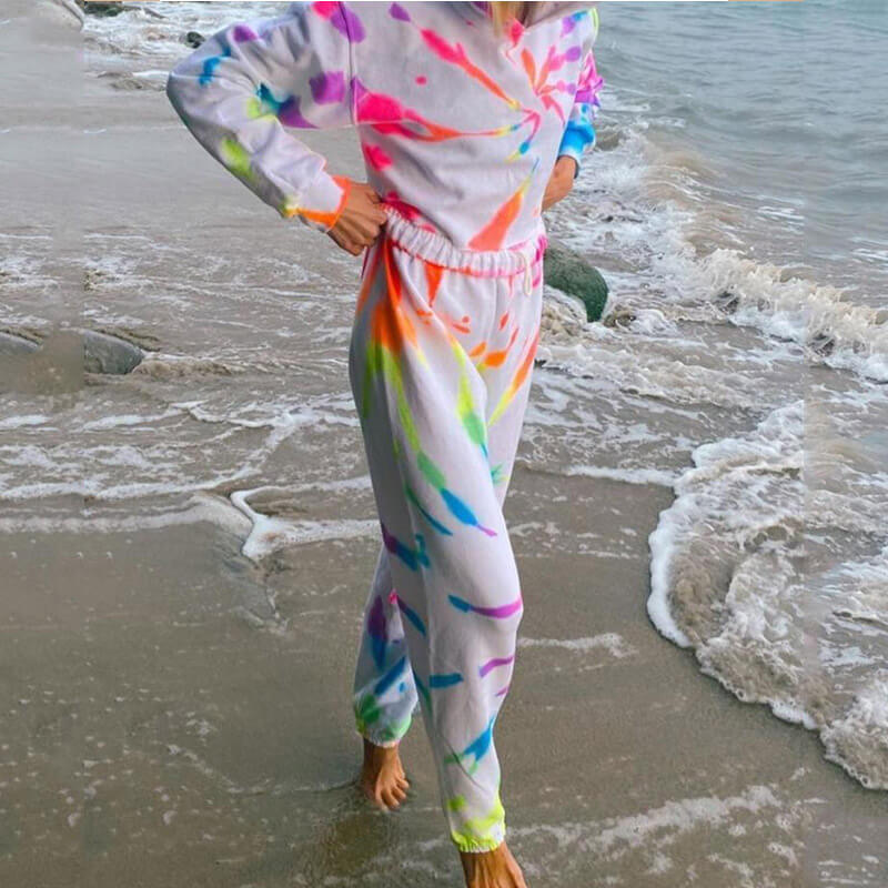Casual White Tie Dye Loose High Waist Long Sleeve Two Pieces Set