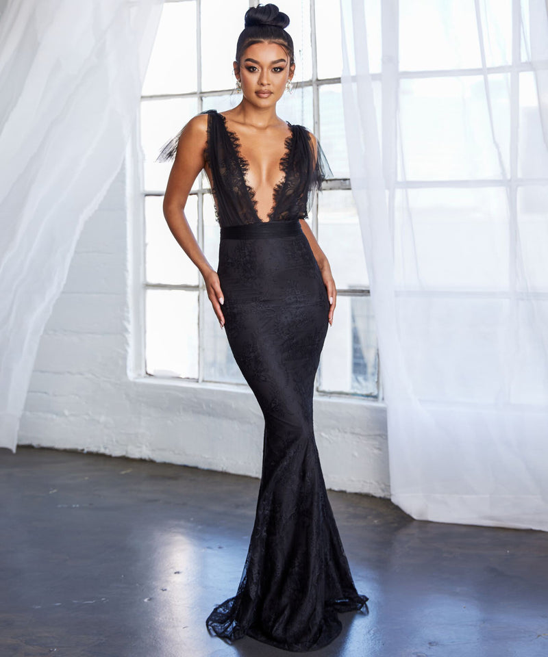 Sexy Deep V Lace Slit Fishtail Dress