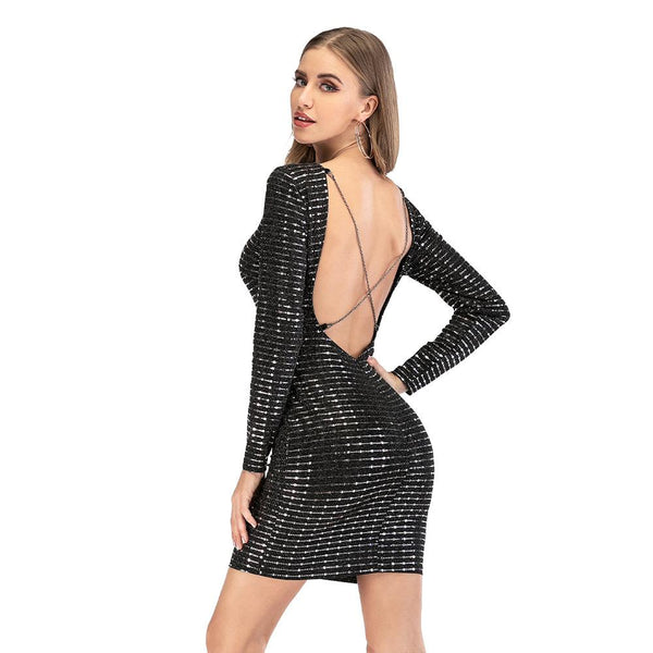 Long Sleeve Blackless Sequin Party Dress