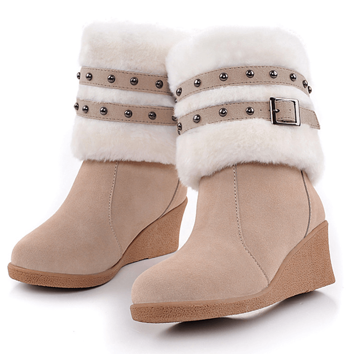 Wedge High Heel Buckle Mid Calf Boots