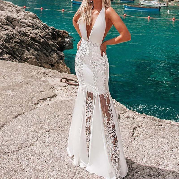White Patchwork Mesh Floor Length Halter Dress