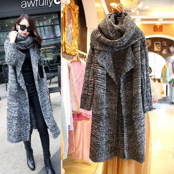 Long Sleeves Pure Color High Neck Long Cardigan
