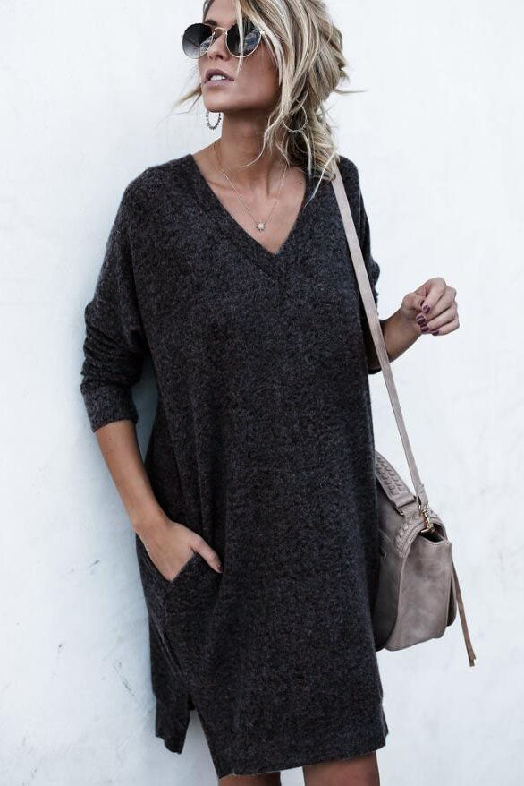 Loose Pure Color Sweetheart Pockets Long Sweater