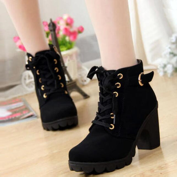 Fashion Lace Up Side Zipper Buckle Martin Boots