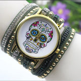 Beautiful Flower Skull Lint Bracelet Watch