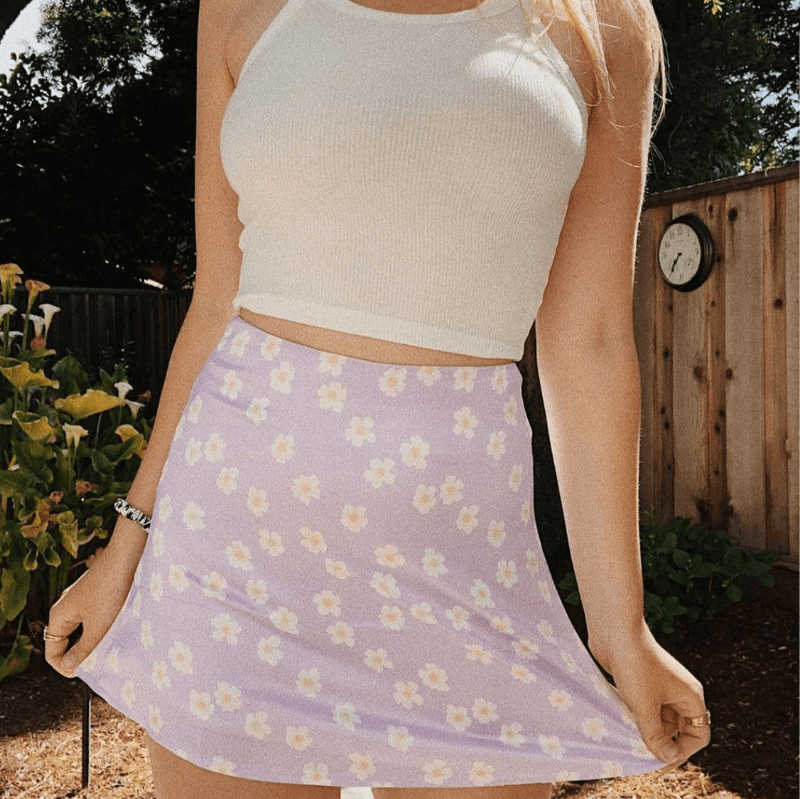 Cute Floral High Waist Mini Skirts