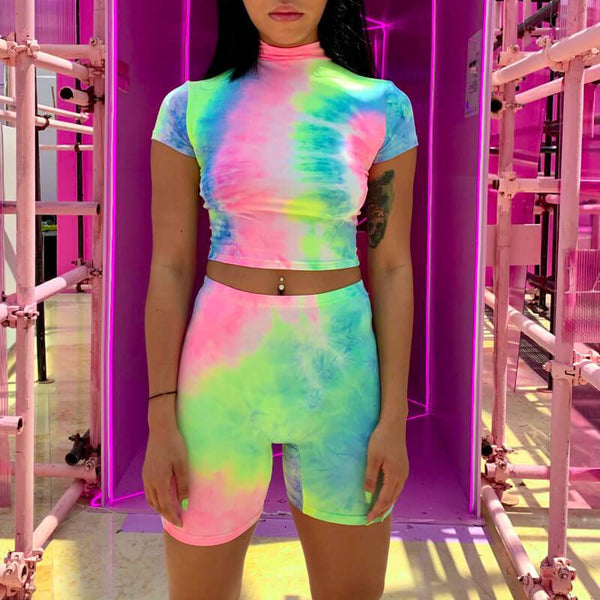 Party Tie Dye Short Sleeve High Waist Bodycon Slim Two Pieces Set