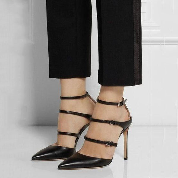 Black Leather Buckles High Heel Sandals
