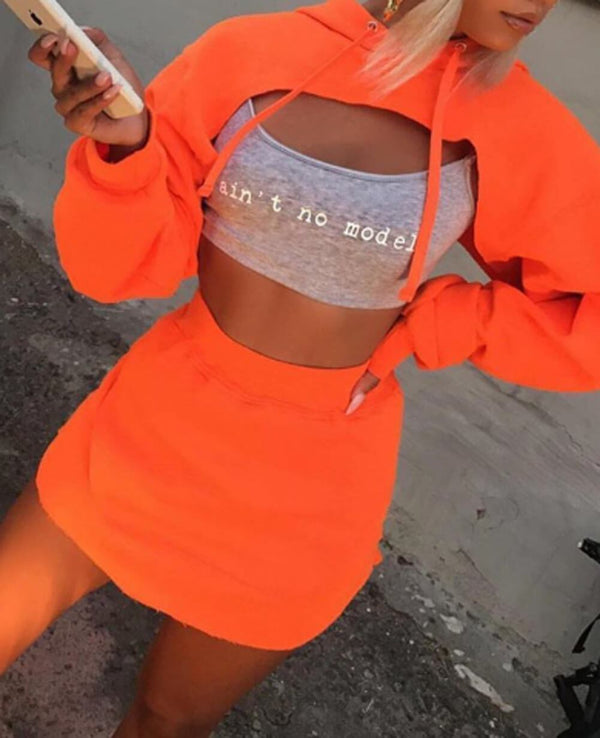 Fashion Long Sleeve Hooded Cutout Two Pieces Set
