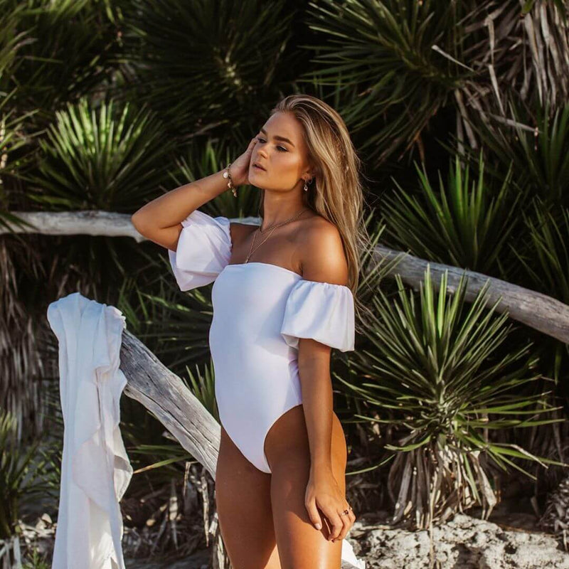 White Puff Sleeves Off Shoulder High Cut Swimsuits