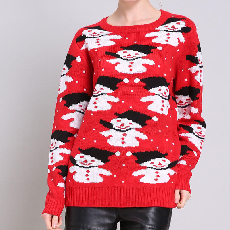 Snowman Ugly Christmas Red Sweater