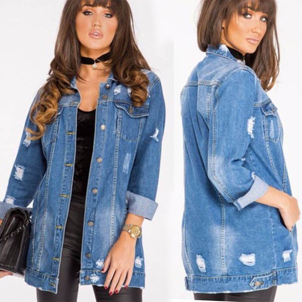 Ripped Denim Shirt Jacket