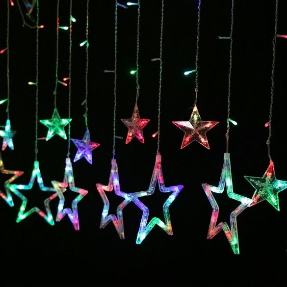 Homdox Waterproof Home Outdoor Christmas Holiday LED Hanging Star Curtain String Lights