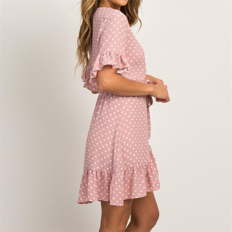 Summer Dress Boho Style Beach Dress Fashion Short Sleeve V-Neck Polka Dot A-Line Party Dress Sundress