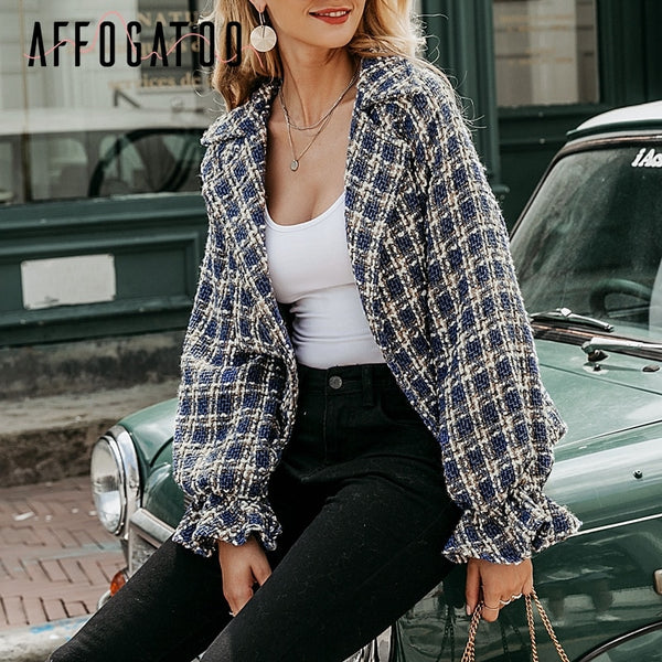 Casual Loose Women Plaid Tweed Jacket Coats Lantern Sleeve Streetwear Coats Elastic High Waist Ladies Outwear Jackets