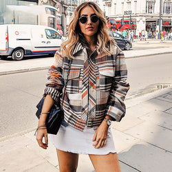 Vintage Casual Plaid Autumn Winter Jackets Coat Women Long Sleeve Outwear Female Coat Streetwear Oversize Ladies Coats