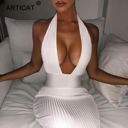 Halter Backless Sexy Knitted Pencil Dress Women White Off Shoulder Long Bodycon Party Dress Elegant Summer Dress