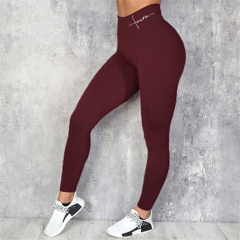 Sexy Seamless Letter Print High Waist Bodycon Leggings Pants