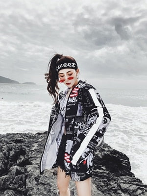 Women Harajuku Printed Pilot Jacket Hip Hop Streetwear Japanese Casual Printing Basic Baseball Jackets Outwear