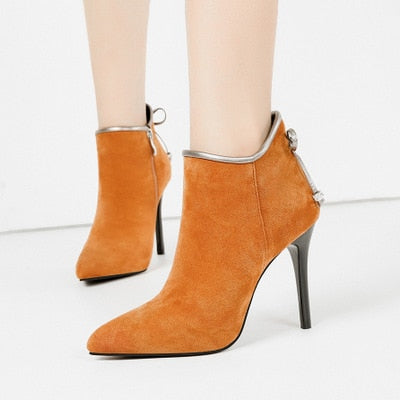 Pointed Toe High Heels Plain Ankle Boots