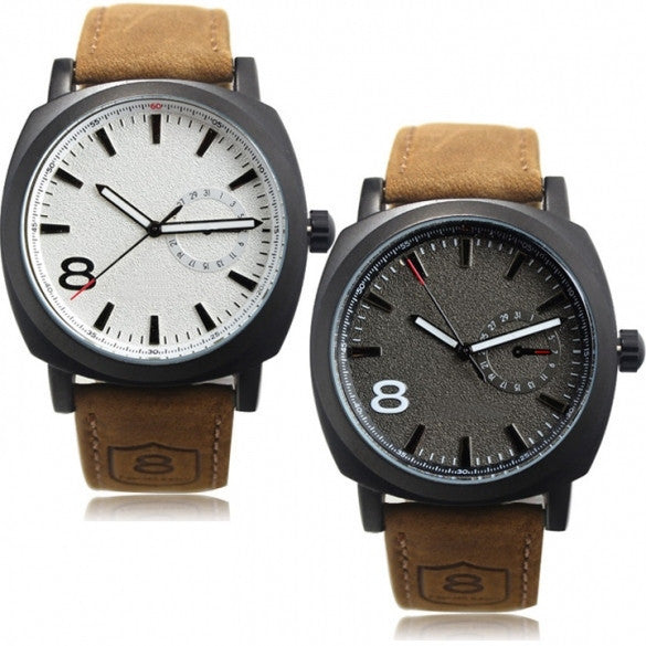 Army Military Style Men's Watches Leather Strap Quartz Watch Wrist Watch - May Your Fashion - 1