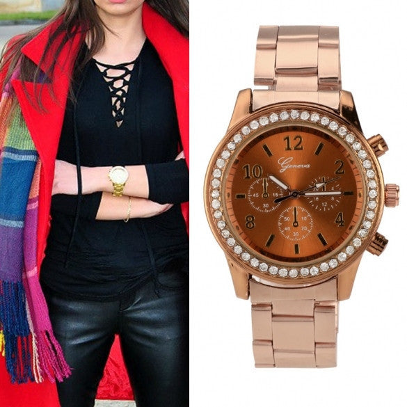 Women Ladies Chronograph Wristwatch Stainless Steel Analog Quartz Wrist Watch 4 Colors - May Your Fashion - 2
