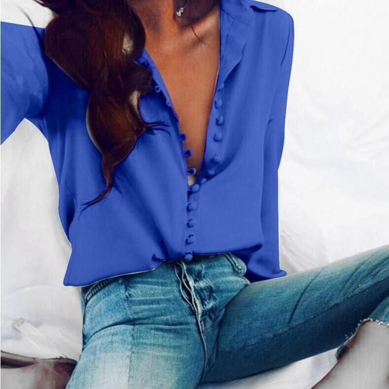 Fashion Casual Solid Color Ladies Office Tops Sexy Buttons Long Sleeve Blouse Spring Women Chiffon Shirt
