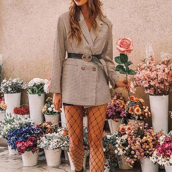 Checked Office Lady Blazer Women Mini Dress Plaid Long Sleeve Oversized Jacket Spring Autumn Casual Streetwear Dresses