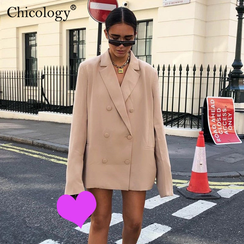 Double Breasted Blazer Long Sleeve Jacket Women Loose Coat Autumn Winter Female Streetwear Over Size Plus Clothes