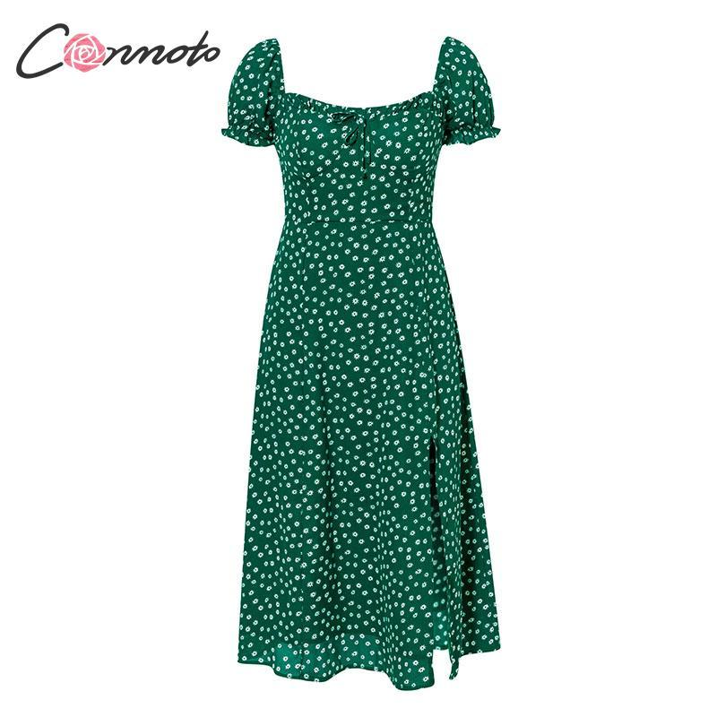 Vintage Party Dress Square Collar Ruffle Elegant Sexy Dress Beach Female Green Floral Print Mid Dresses