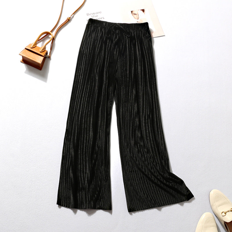 Loose Elastic Waist Sashes Pleated Wide Leg Pants