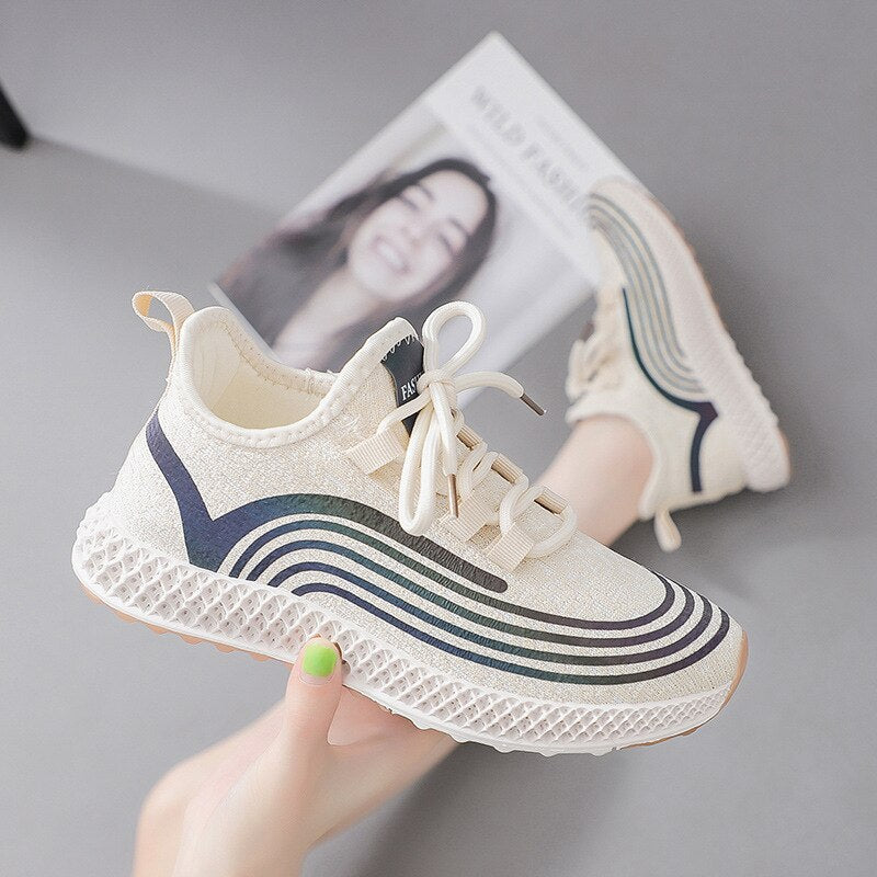 Lace Up Stripes Stretch Fabric Sneakers