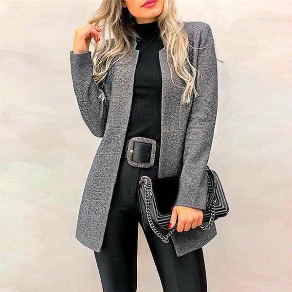 Cotton Women Autumn Winter Long Sleeve Cardigan Long Coat Fashion Suit Collar Ladies Office Clothing Workwear