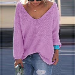 V-neck Loose Knit Pure Color Pullover Sweater - Oh Yours Fashion - 1
