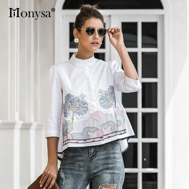 Embroidery Shirt Women Summer Autumn Fashion 3/4 Sleeve Casual Blouses Ladies Shirt
