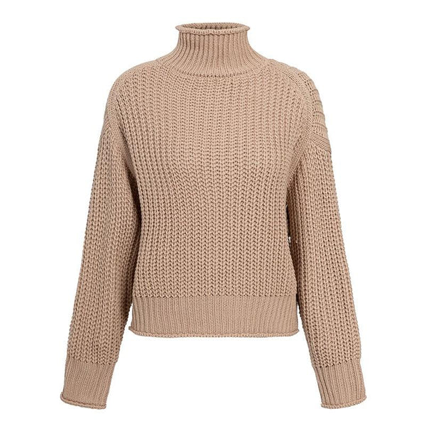 Turtleneck Women Sweater Autumn Winter Long Sleeve Jumper Knitted Loose Fashion Pullover Femme