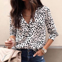 Fashion Women Long Sleeve Leopard Blouse V neck Shirt Ladies OL Party Top Dames Streetwear
